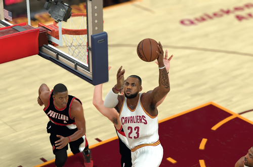 LeBron James with the layup in NBA 2K17