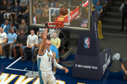 Danilo Gallinari misses a dunk in NBA 2K17's MyCAREER