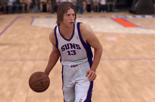 Steve Nash dribbling the basketball in NBA 2K17