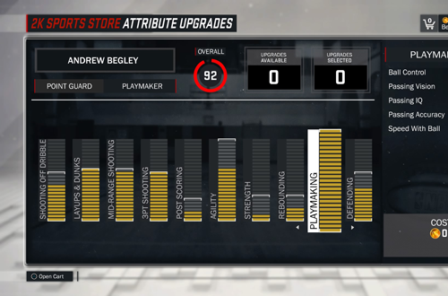 Upgrading Playmaker Ratings in NBA 2K17's MyCAREER