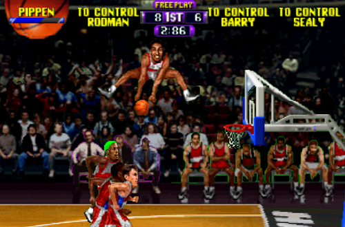 Scottie Pippen dunks the basketball in NBA Hangtime