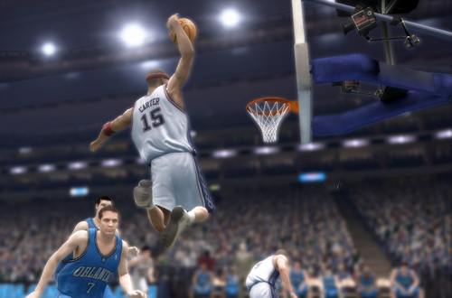 Vince Carter dunks the basketball in NBA Live 07 (Xbox 360)