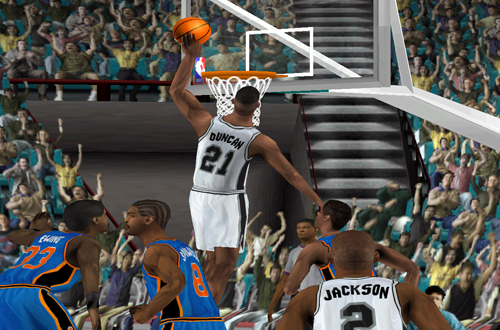 Tim Duncan dunks the basketball in NBA Live 2000