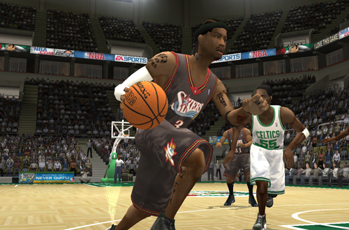 Allen Iverson dribbles the basketball in NBA Live 2004