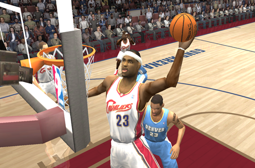 LeBron James dunks the basketball in NBA Live 2004