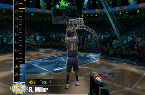 Reggie Miller in NBA Live 2005's Three-Point Shootout
