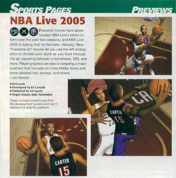 NBA Live 2005 GamePro Magazine Preview Article