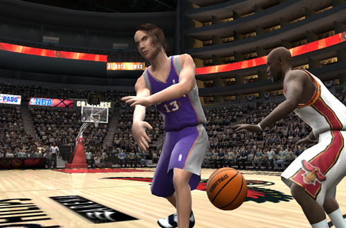 Steve Nash passes the basketball in NBA Live 2005