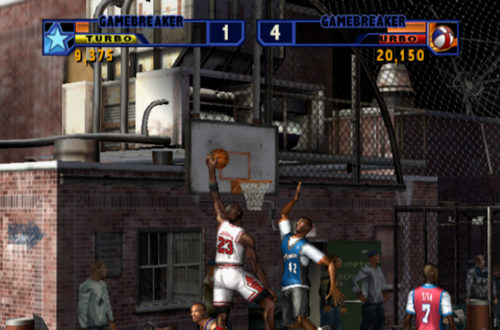 Michael Jordan dunks the basketball in NBA Street Vol. 2