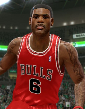 LeBron James on the Chicago Bulls in NBA Live 10