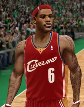 LeBron James on the Cleveland Cavaliers in NBA Live 10