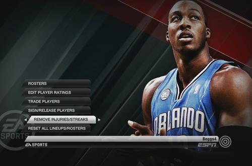 Roster Management Menu in NBA Live 10