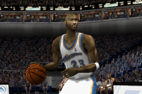 Michael Jordan dribbles the basketball in NBA Live 2002