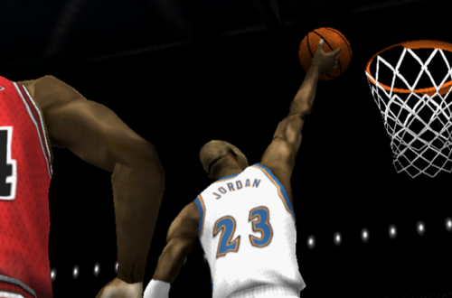 Michael Jordan with the layup in NBA Live 2002