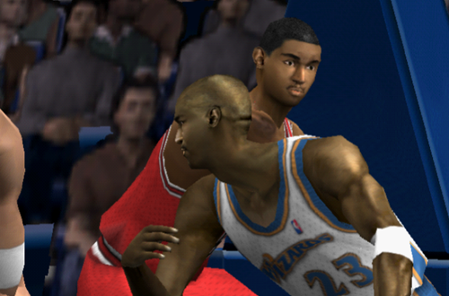 Michael Jordan posts up Ron Artest in NBA Live 2002