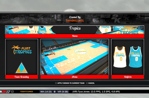 Flint Tropics Branding in NBA 2K17, by TrendKILLv01
