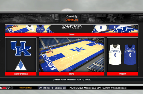Kentucky Wildcats Branding in NBA 2K17, by DustinLyu