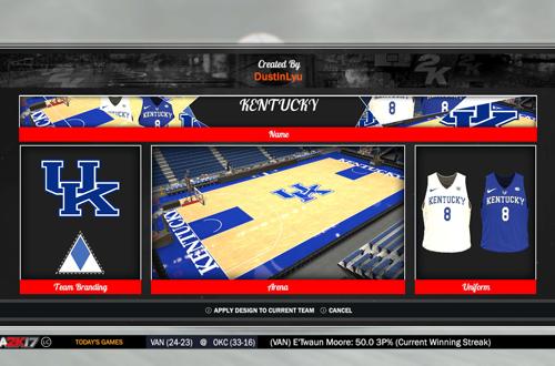 Kentucky Wildcats Branding in NBA 2K17, by DustinLyu