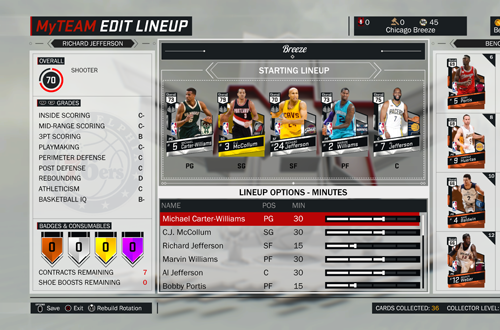 Edit Lineup in NBA 2K17's MyTEAM