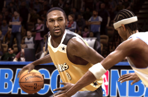 Gilbert Arenas dribbles the basketball in NBA Live 08