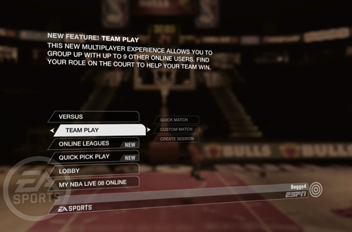 Online Team Play in NBA Live 08 (Xbox 360)