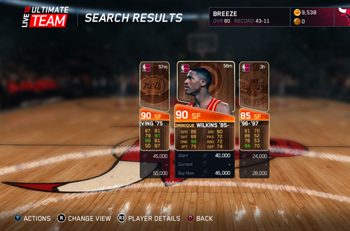Auction in NBA Live 16's Ultimate Team