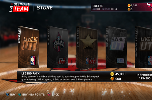 Ultimate Team Store in NBA Live 16