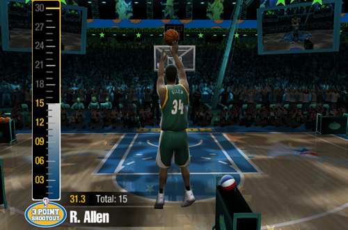 Ray Allen in NBA Live 2005's Three-Point Shootout