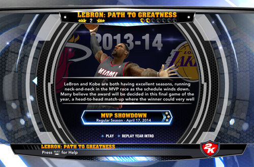 MVP Showdown in NBA 2K14's LeBron: Path to Greatness