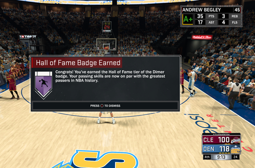 Attaining the Hall of Fame Dimer Badge in NBA 2K17's MyCAREER