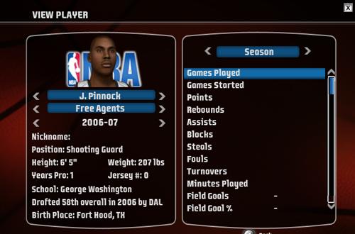 J.R. Pinnock Bio in NBA Live 08