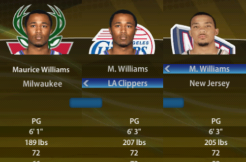 Three M. Williams in the Roster of NBA Live 09 PS2