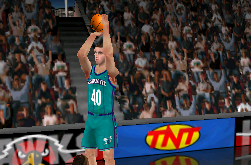 Brad Miller shooting a three-pointer in NBA Live 99