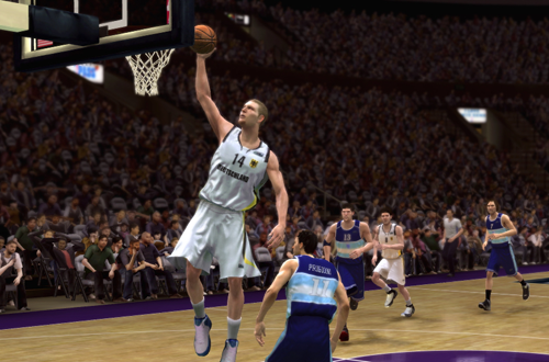 Dirk Nowitzki playing for Germany in NBA Live 08