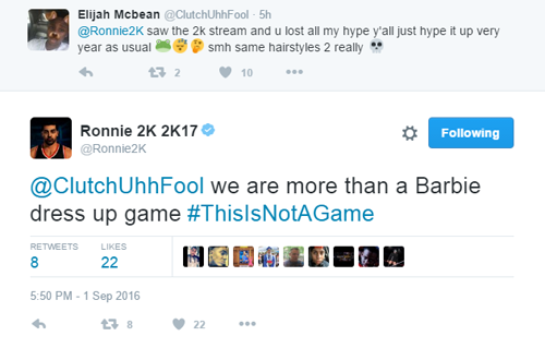 Ronnie 2K's Barbie Game Tweet