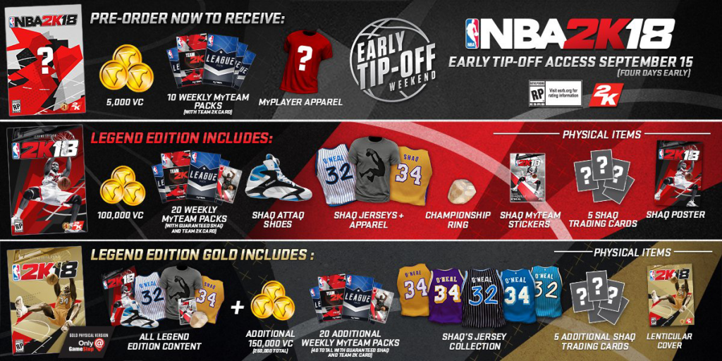 Shaquille O'Neal Content & Other NBA 2K18 Pre-Order Bonuses (May 2017)