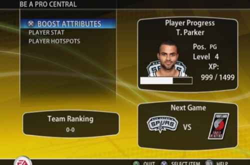 Player Menu in NBA Live 09 PS2's Be a Pro