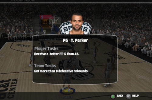 Game Tasks in NBA Live 09 PS2's Be a Pro