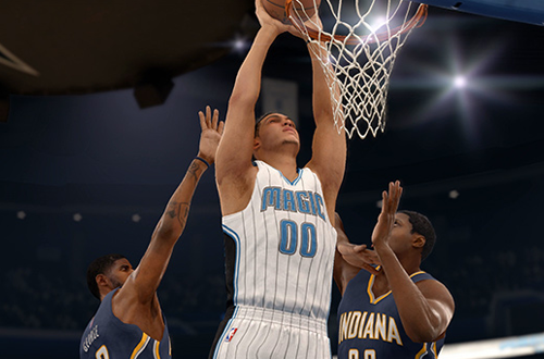 Aaron Gordon dunks the basketball in NBA Live 16