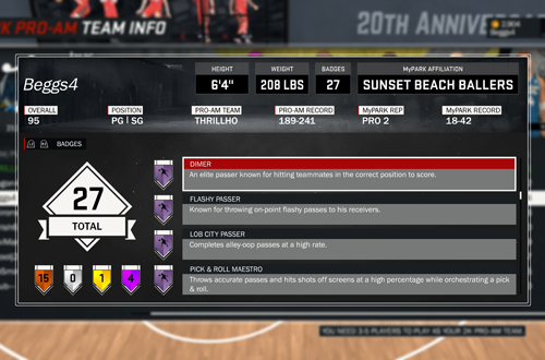 Viewing Badges in NBA 2K17's 2K Pro-Am