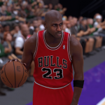 Michael Jordan dribbles the basketball in NBA 2K17