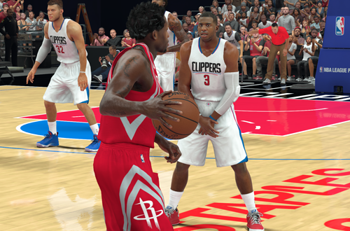 Chris Paul sets for a charge in NBA 2K17