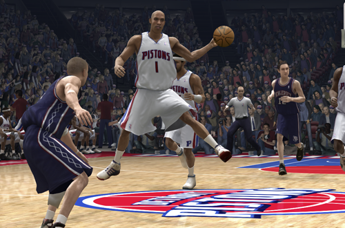 Chauncey Billups passes the basketball in NBA Live 07