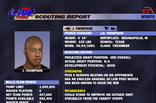 Rookie Scouting Report in NBA Live 2000