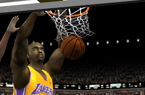 Shaquille O'Neal dunks the basketball in NBA Live 2002