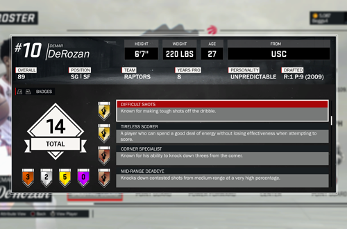 Difficult Shots Badge in NBA 2K17