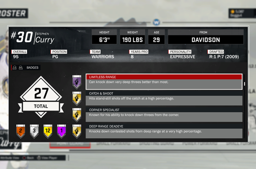 Limitless Range & Deep Range Deadeye Badges in NBA 2K17