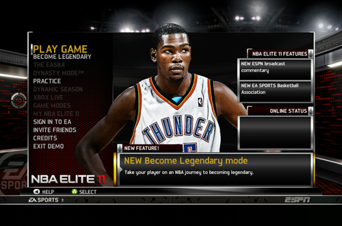 Main Menu of the NBA Elite 11 Demo