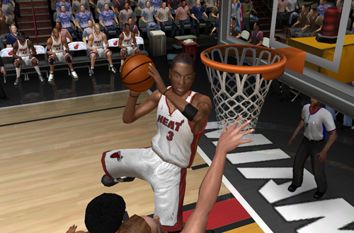 Dwyane Wade with the Freestyle Superstars dunk in NBA Live 06