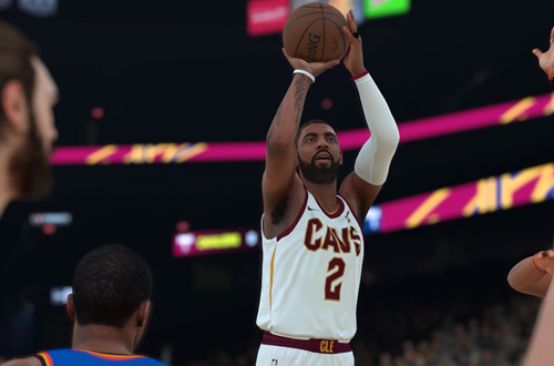 Kyrie Irving shoots the basketball in NBA 2K18